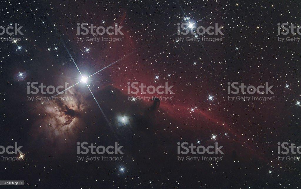 Horsehead and Flame Nebula stock photo