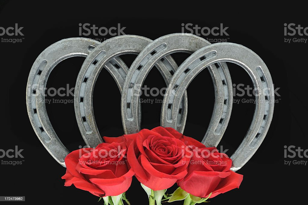 Horsehoes and Red Roses, Studio Shot on Black Background royalty-free stock photo