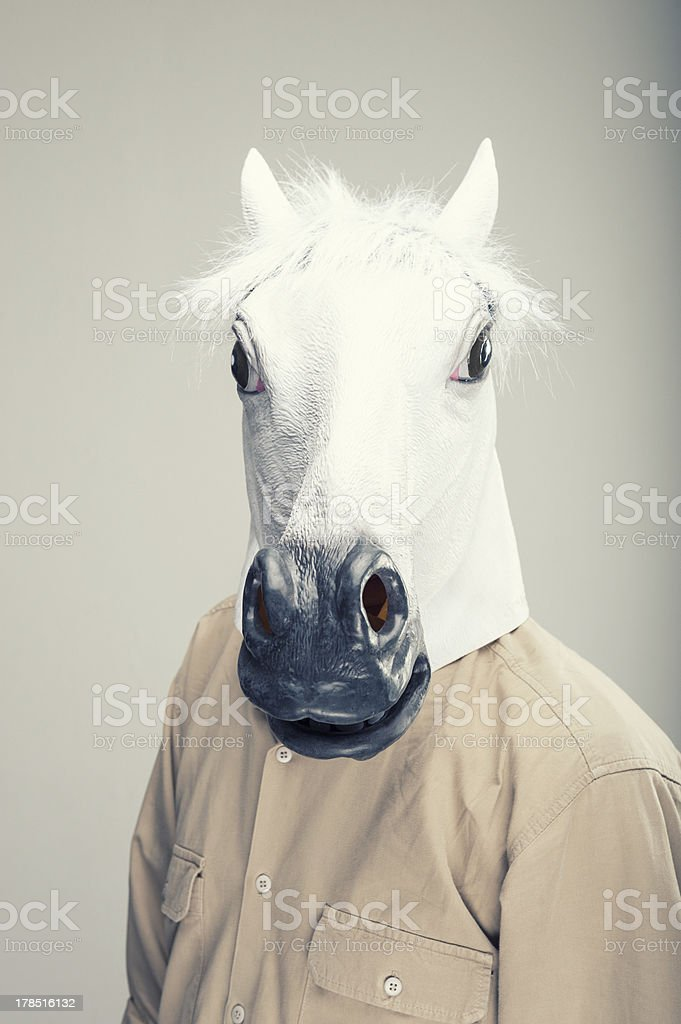 Horse-Man stock photo