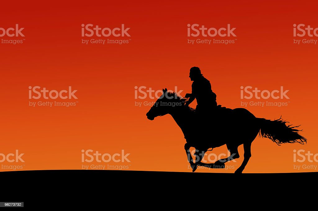Horseman Silhouette (clipping path) royalty-free stock photo