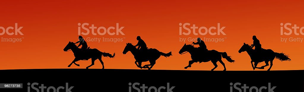 Horsemen Silhouette Panorama (clipping path) royalty-free stock photo