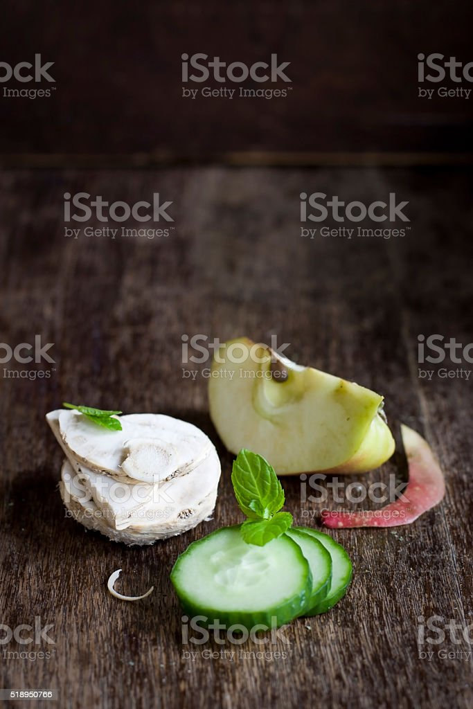 horseradish, apple, cucumber and mint Healthy ingredients: horseradish, apple, cucumber and mint. Ingredient for healthy smoothie. Apple - Fruit Stock Photo