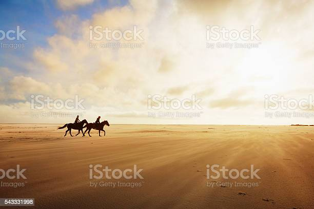 Photo of Horseriders cantering across sands on a golden late afternoon