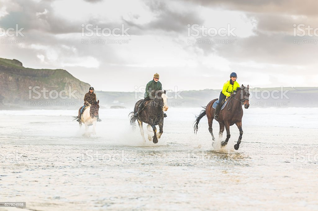 Horses galloping on the beach stock photo