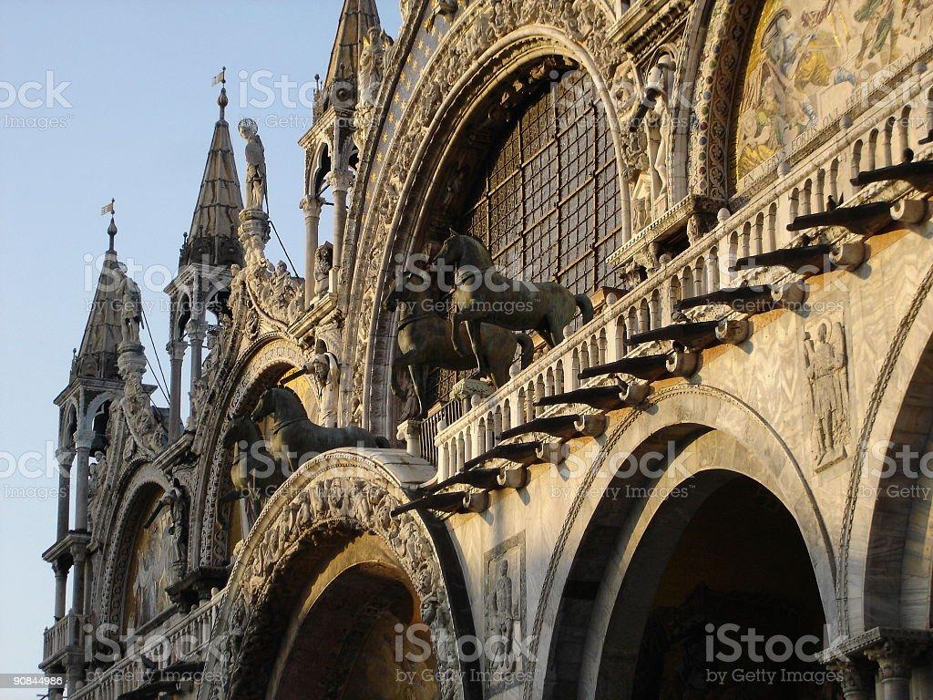 Horses on the St. Mark's Basilica, Venice, Italy. stock photo