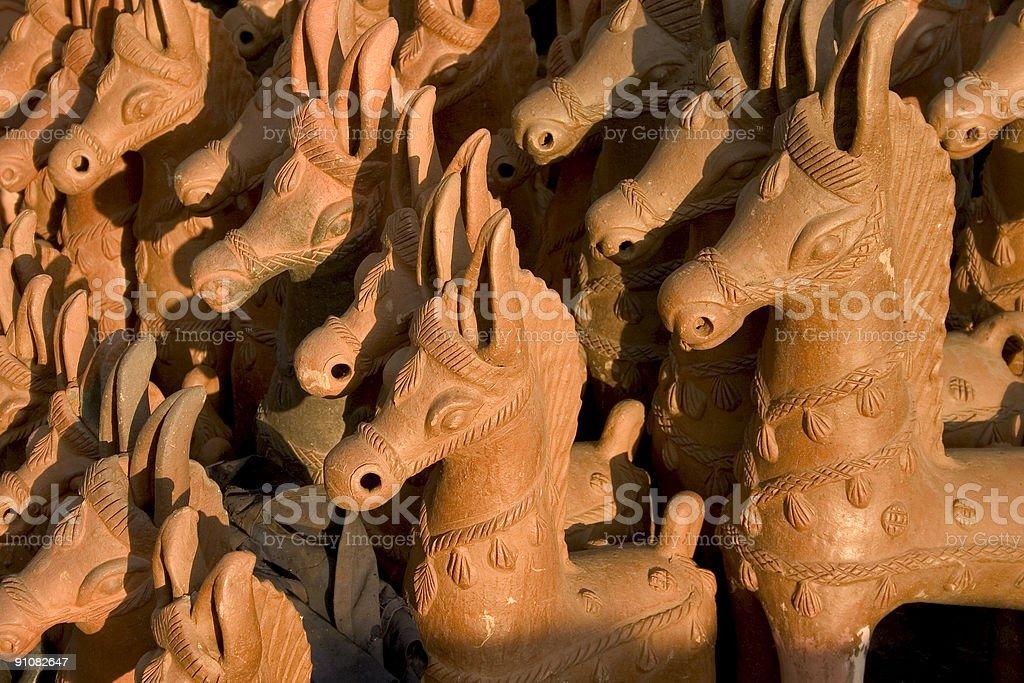 Horses Pottery Art in India made up of clay Horizontal stock photo