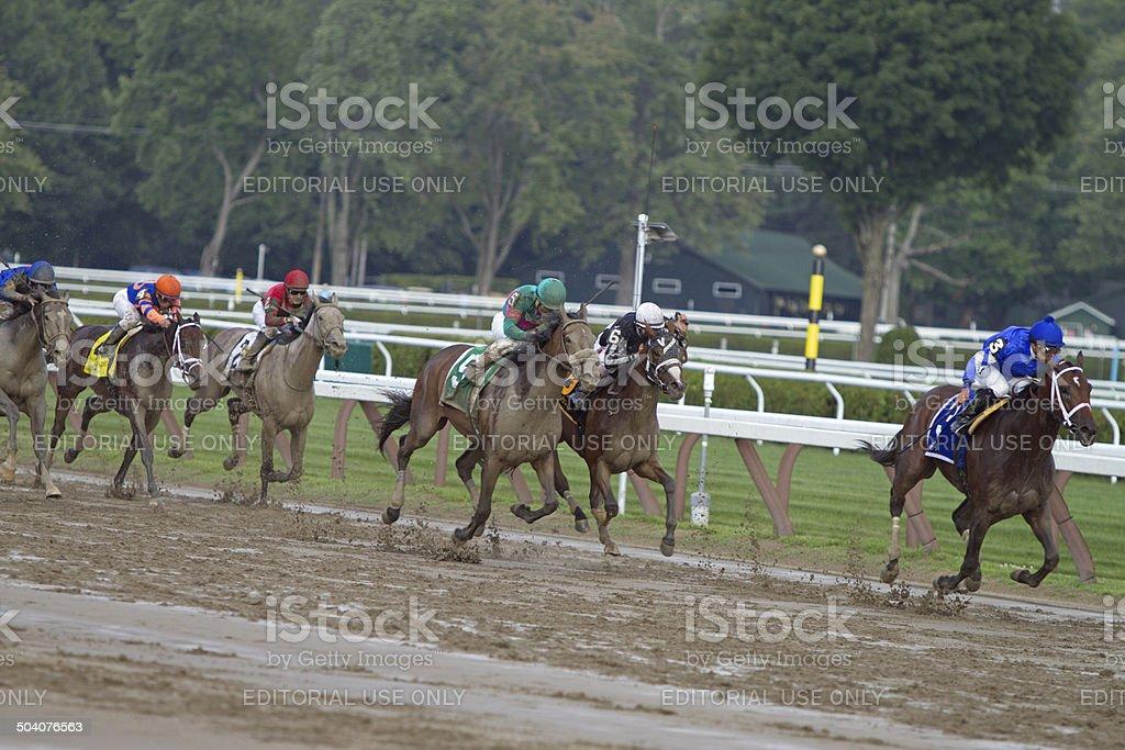 Saratoga, New York, United States - July 27, 2014: Shows six horses,...