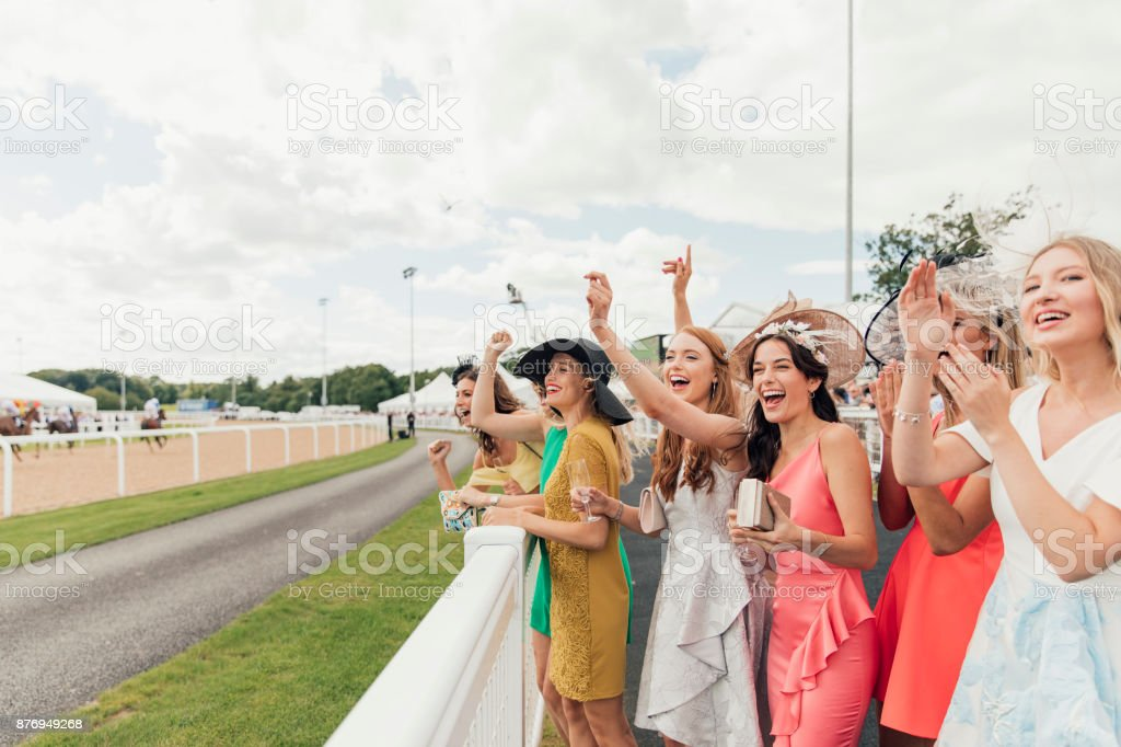 Horses Racing on Ladies Day stock photo