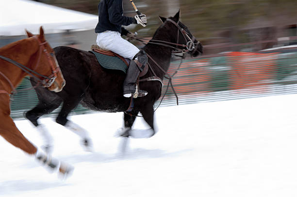 horses running down a snow polo field - kellyjhall stock pictures, royalty-free photos & images