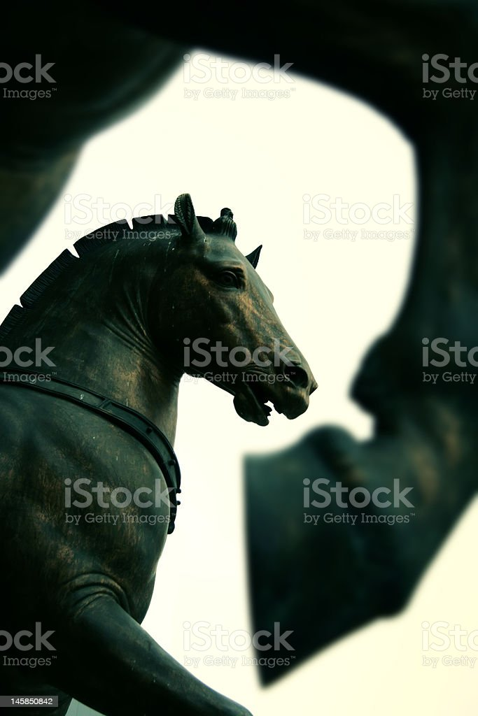 Horses statue on San Marco Cathedral -Venice stock photo