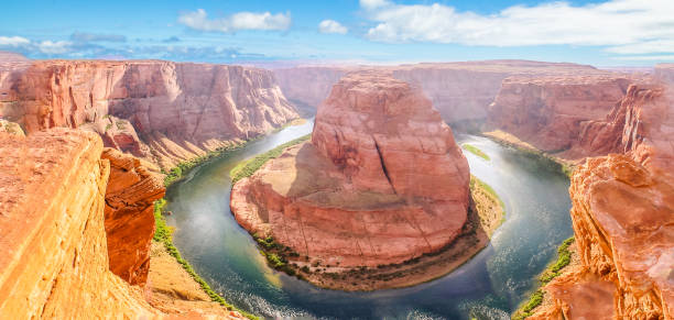 Horseshoe Bend aerial view Horseshoe Bend of Colorado River near Page town in Arizona, United States. Downstream from the Glen Canyon Dam and Lake Powell within Glen Canyon National recreation area, Grand Canyon at Lake Powell. horseshoe bend colorado river stock pictures, royalty-free photos & images