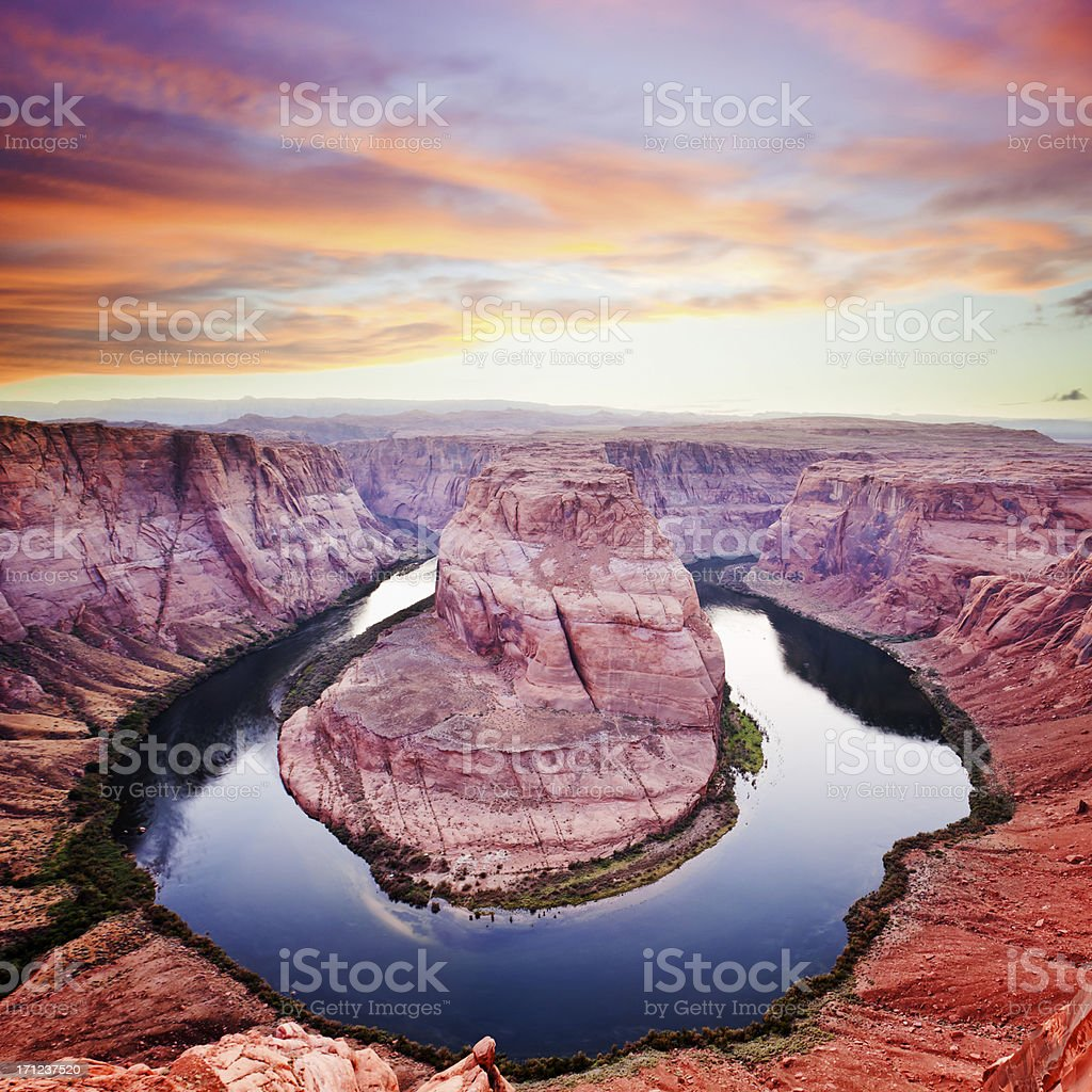 Horseshoe Bend at Dusk royalty-free stock photo