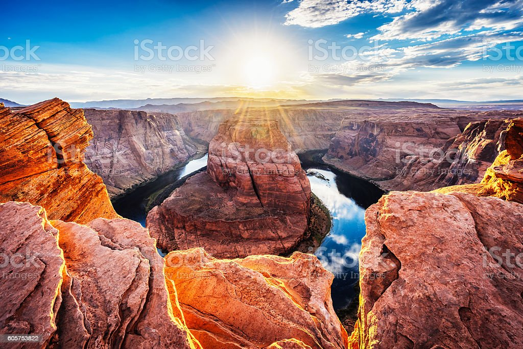 Horseshoe Bend At Sunset - Colorado River, Arizona stock photo