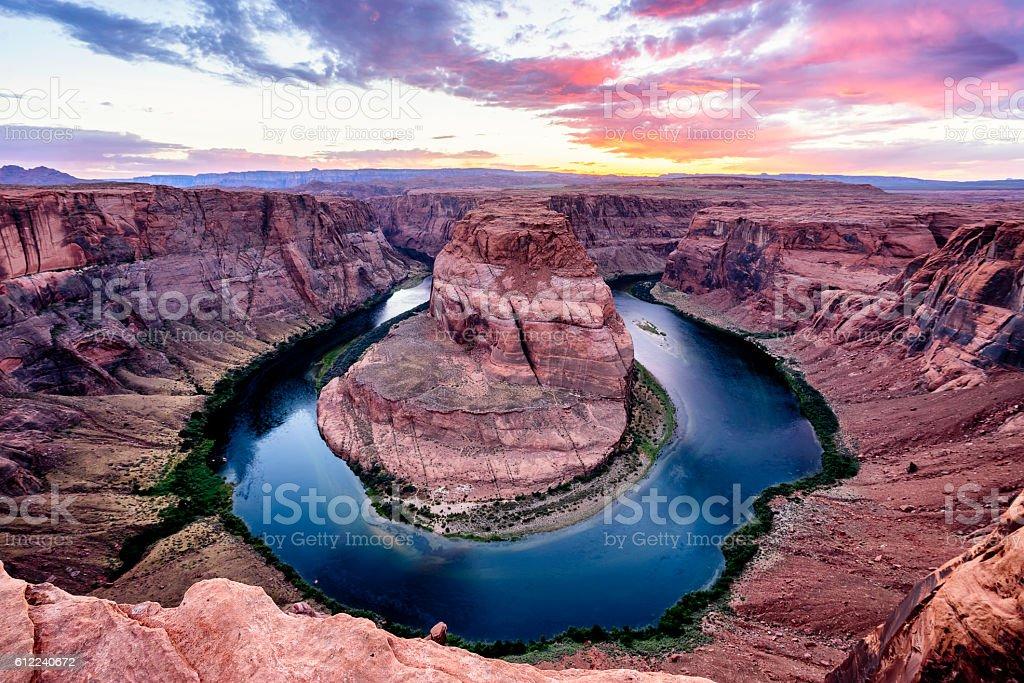 Horseshoe Bend At Sunset - Colorado River, Arizona stock photo
