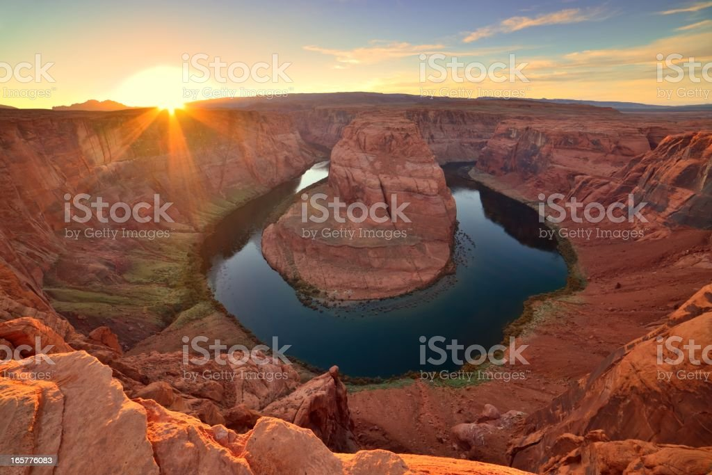 Horseshoe Bend Colorado river sunset stock photo