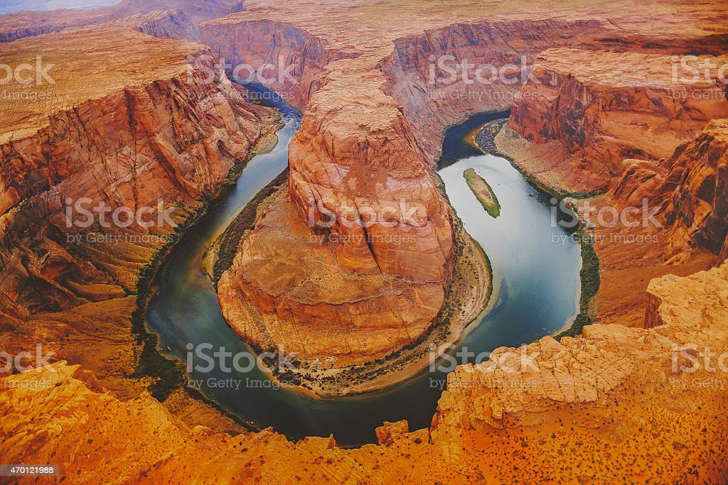 Horseshoe Bend from the air stock photo