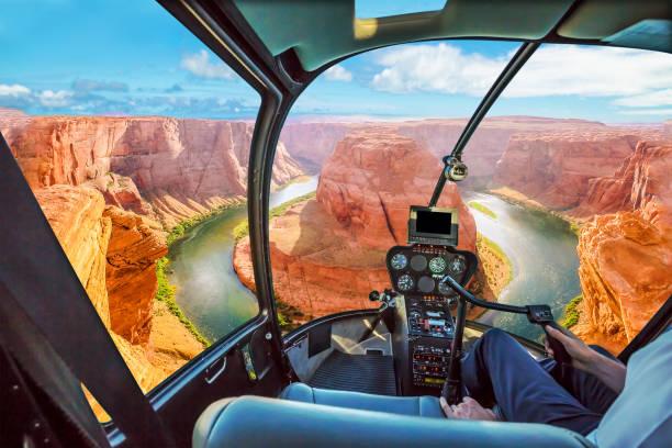 Horseshoe Bend Helicopter stock photo