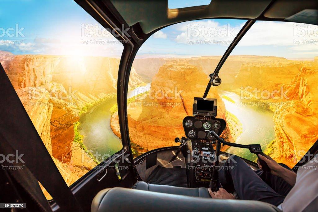 Horseshoe Bend Helicopter sunset stock photo