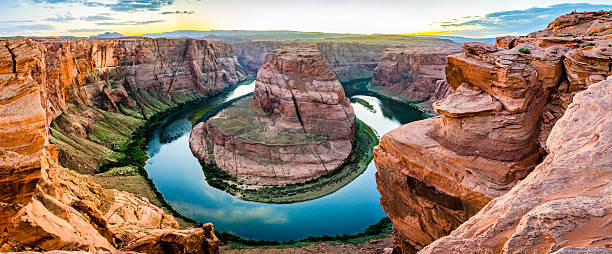 Horseshoe Bend in the USA panorama stock photo