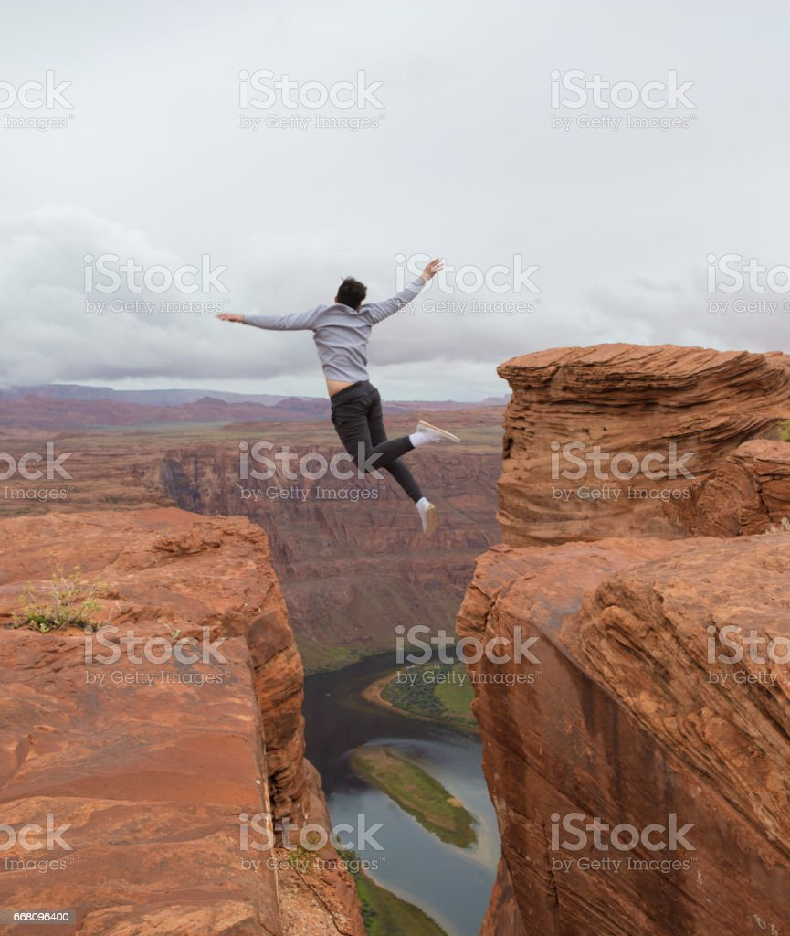 Horseshoe Bend Jump stock photo