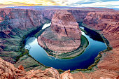 Iconic horseshoe bend of the colorado river in the great american southwest