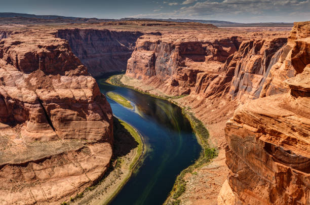 Horseshoe Bend Dizzying experience to get close to the edge of Horseshoe Bend. page arizona stock pictures, royalty-free photos & images