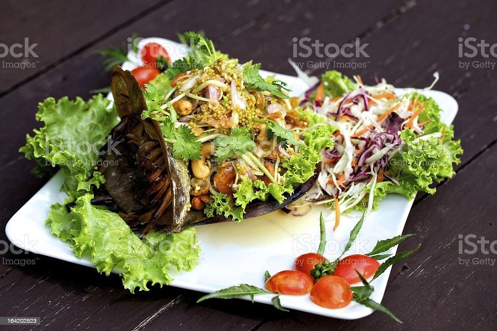 Horseshoe crab egg spicy salad royalty-free stock photo