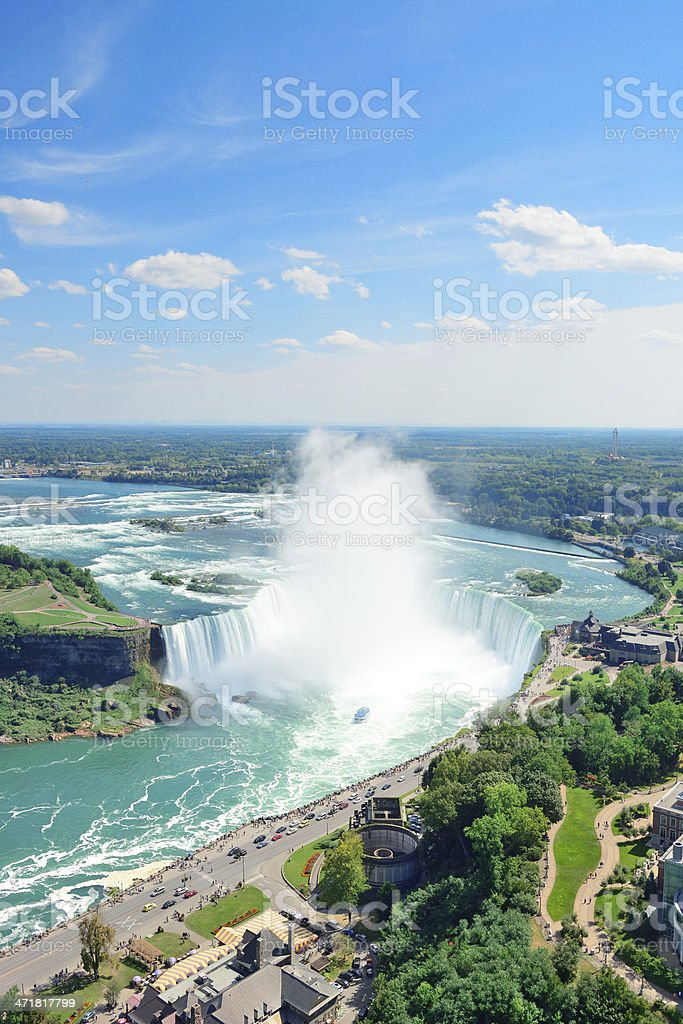 Horseshoe Falls aerial view stock photo