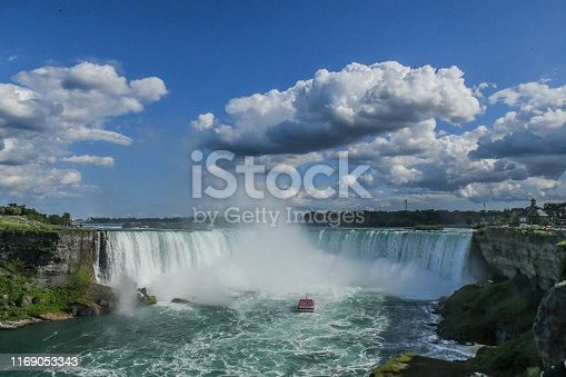 Horseshoe Falls, also known as Canadian Falls, is the largest of the three waterfalls that collectively form Niagara Falls on the Niagara River along the Canada–United States