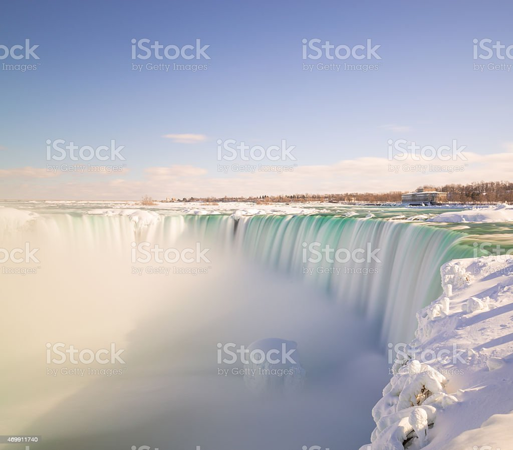 Horseshoe Falls in the Winter stock photo