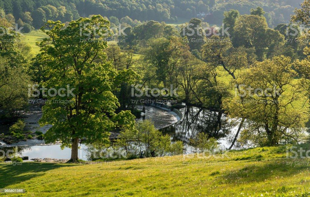 Horseshoe Falls outside Llangollen in Wales - Royalty-free Anoitecer Foto de stock