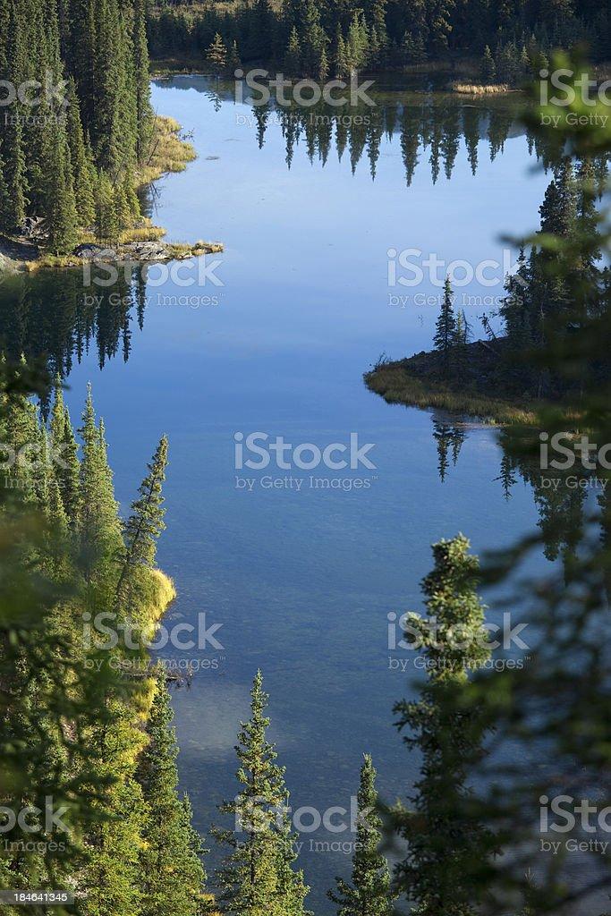 Horseshoe Lake at Denali National Park in Alaska USA stock photo