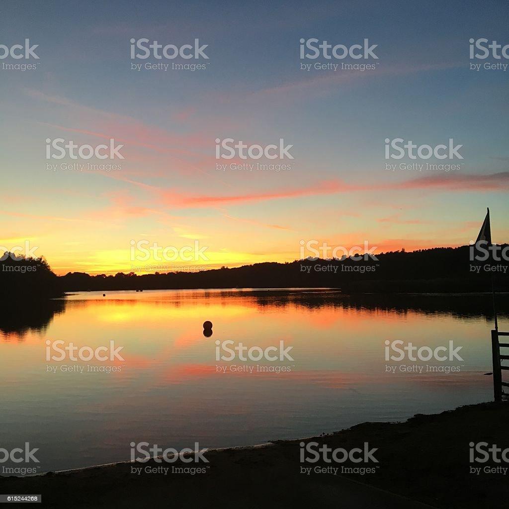 Horseshoe Lake at Sunset stock photo