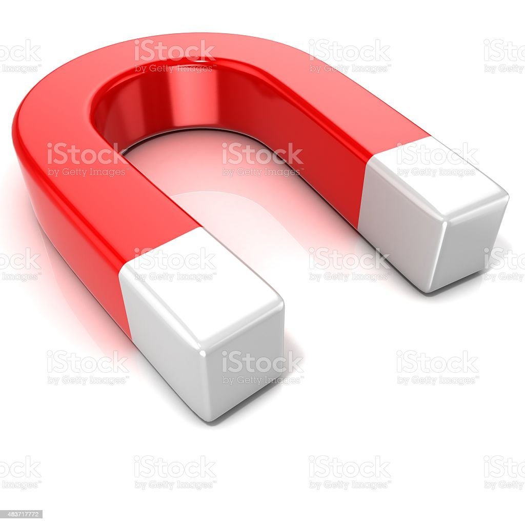 Horseshoe magnet. Side view stock photo