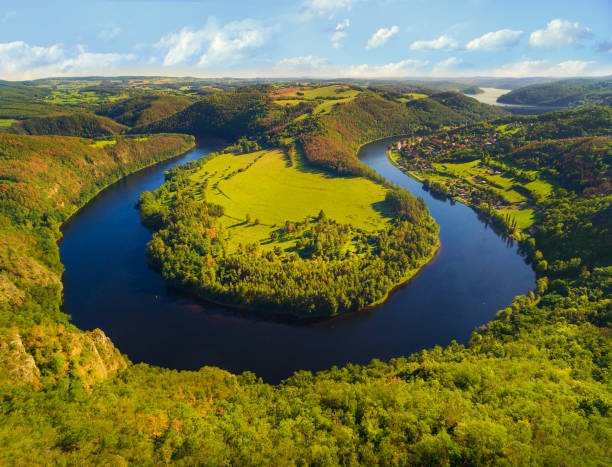 Horseshoe shape of Vltava River. Aerial view to amazing scenery close The Orlik reservoir. Most beautiful landscape in Czech Republic, Central Europe.e stock photo