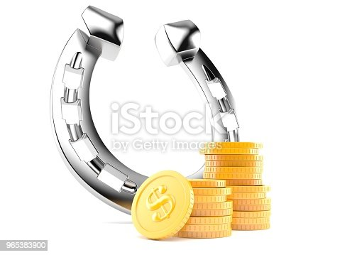 Horseshoe With Stack Of Coins Stock Photo & More Pictures of Coin