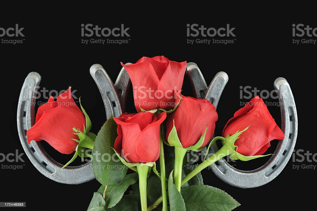 Horseshoes and Red Roses on Black Background, Copy Space Above royalty-free stock photo