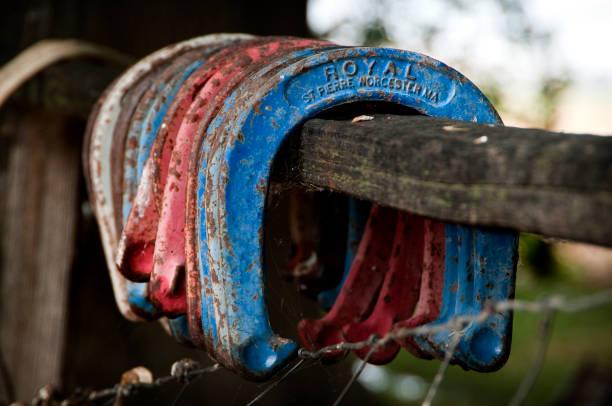 Hoefijzers op een hek post foto