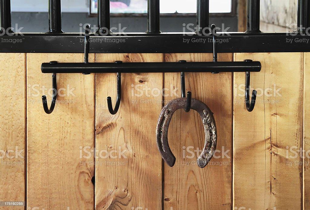 Horseshow on wall at barn. royalty-free stock photo