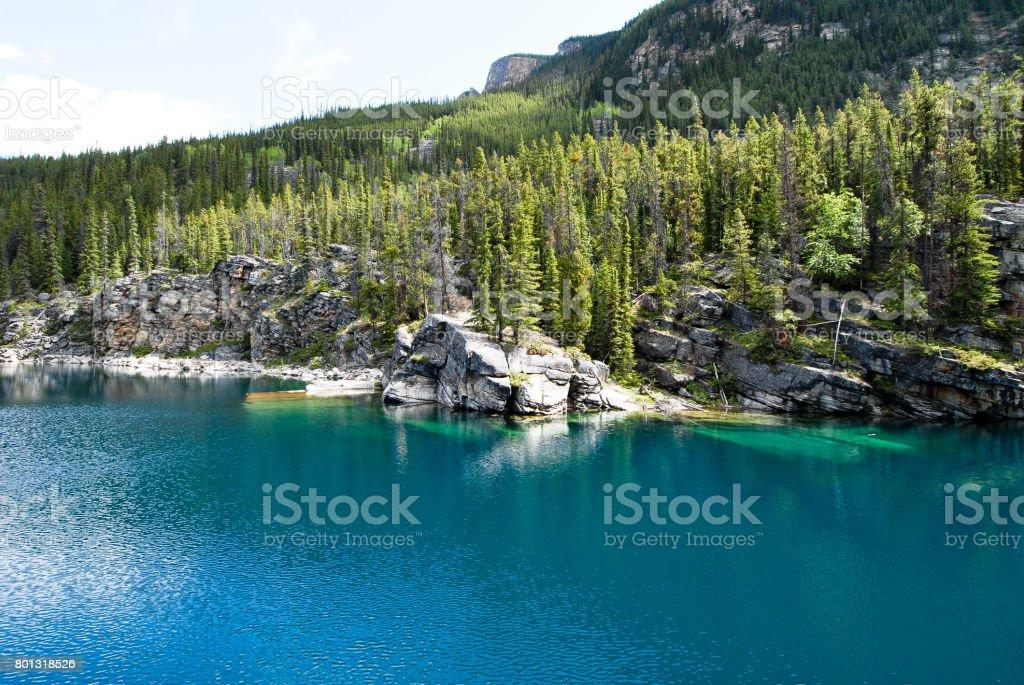 Horsesshoe Lake in Jasper National Park in the Spring, Canadian Rockies, Alberta, Canada stock photo