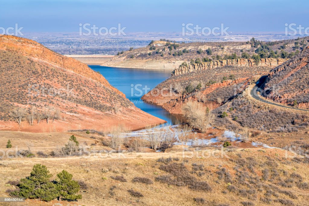 Horsetooth Reservoir and foothills in early winter stock photo