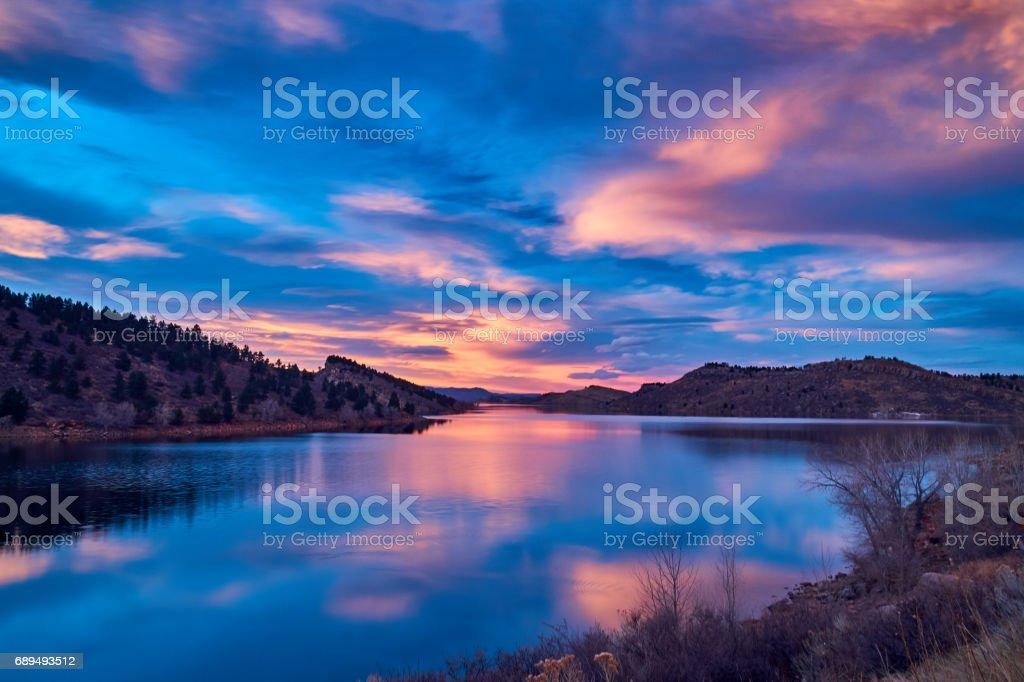 Horsetooth Reservoir at sunset stock photo