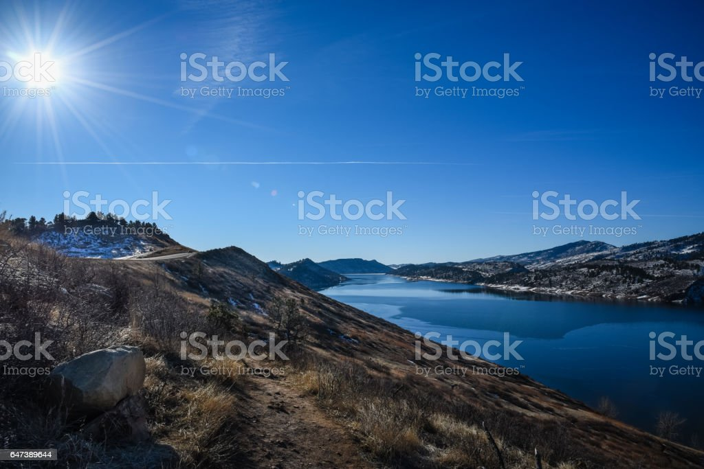 Horsetooth Reservoir, Fort Collins, Colorado in Winter stock photo