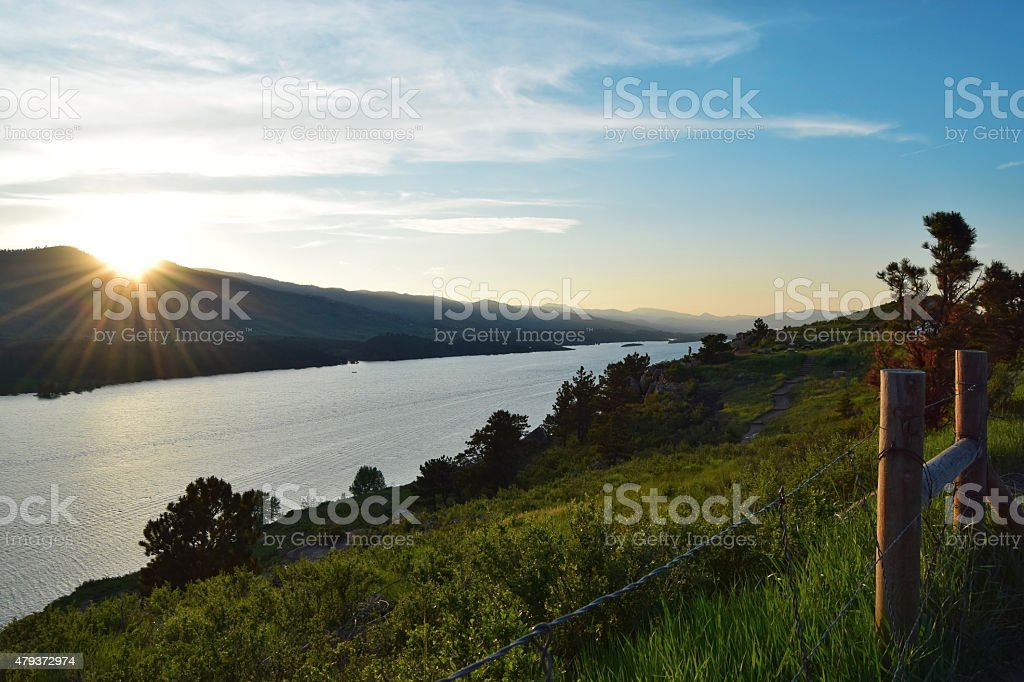 Horsetooth Reservoir in Fort Collins, CO stock photo