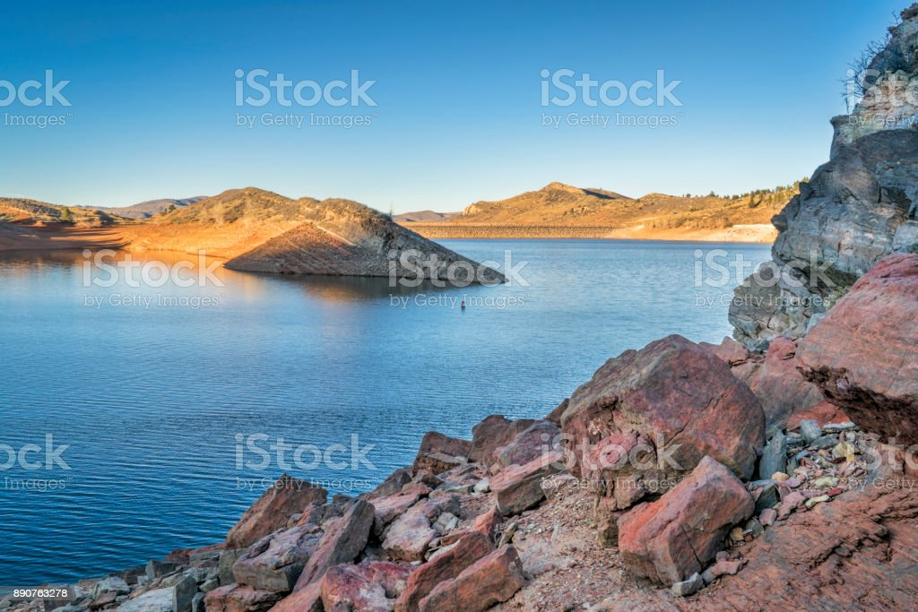 Horsetooth Reservoir  with low water level stock photo