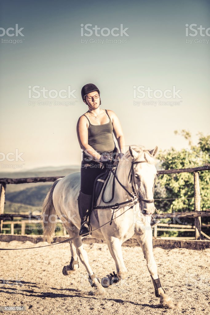 Horsewoman in a manege stock photo