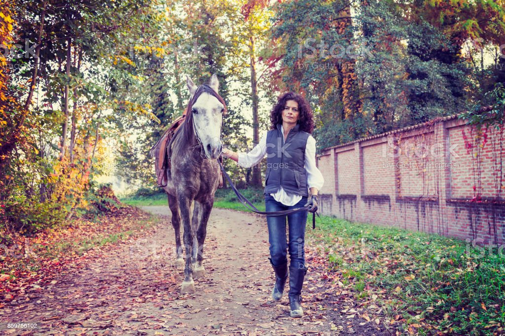 horsewoman with his horse in the countryside stock photo