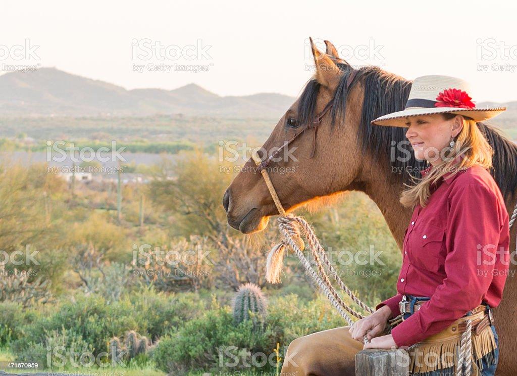 Horsewomans Desert View royalty-free stock photo