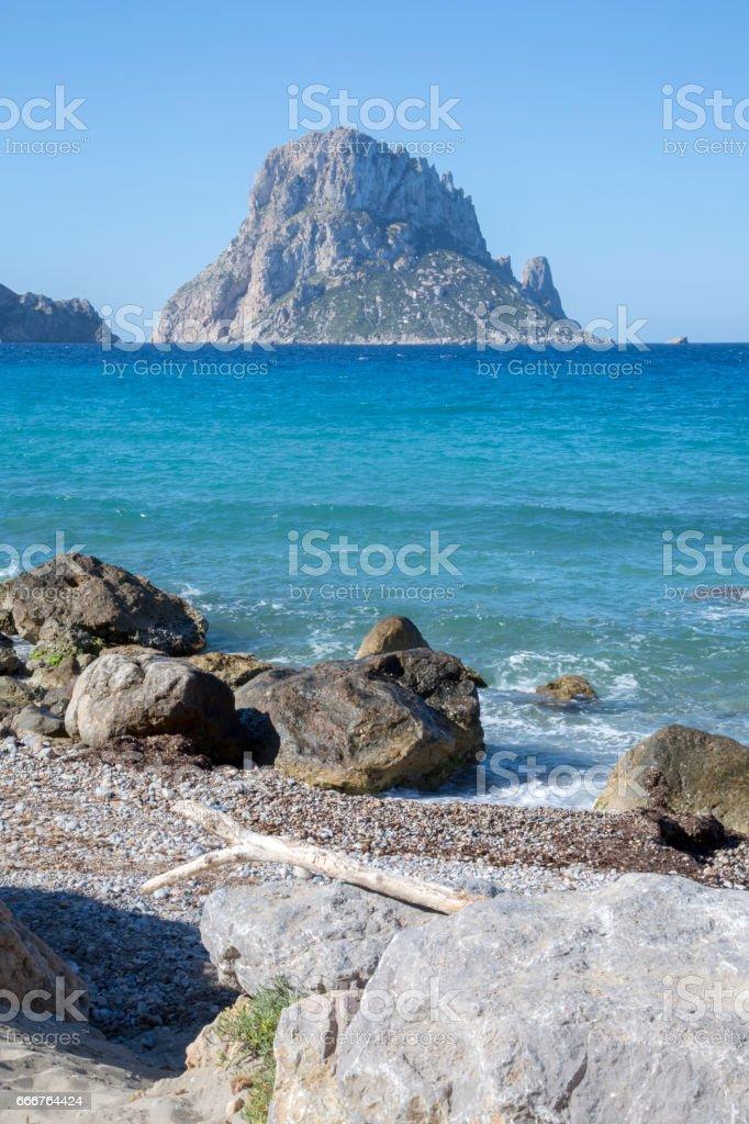 Hort Cove Beach and Vedra Island; Ibiza foto stock royalty-free