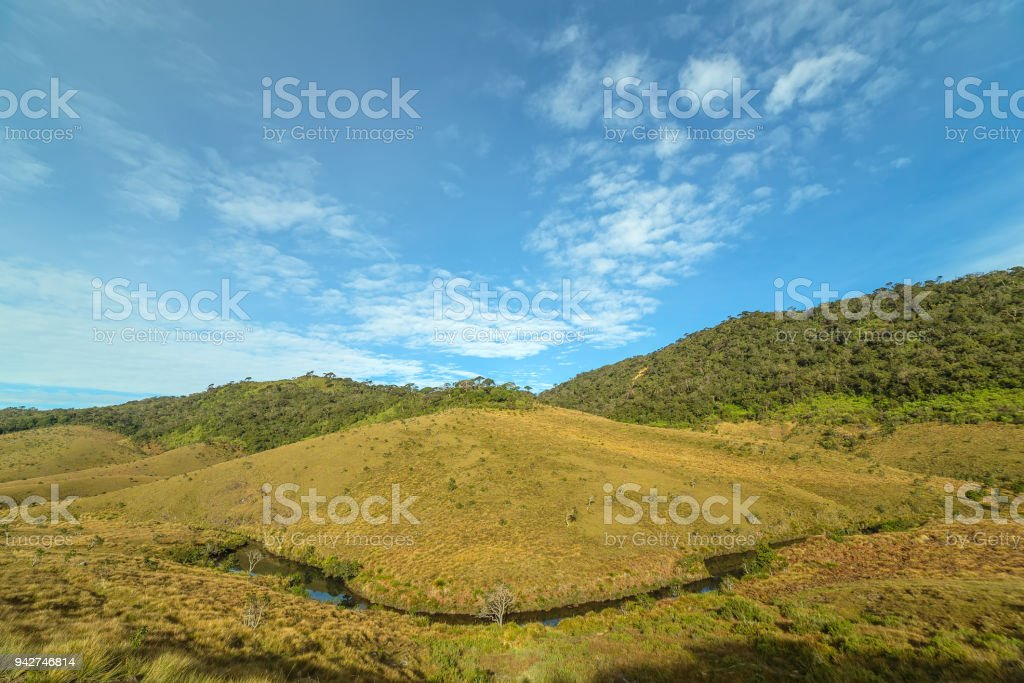 Horton Plains National Park highlands of Sri Lanka and is covered by montane grassland and cloud forest. Ceylon, Asia. stock photo
